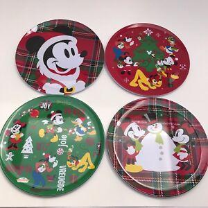 Image is loading Disney-Store-Parks-Mickey-Mouse-&-Friends-Holiday- & Disney Store Parks Mickey Mouse u0026 Friends Holiday Melamine Plate Set ...