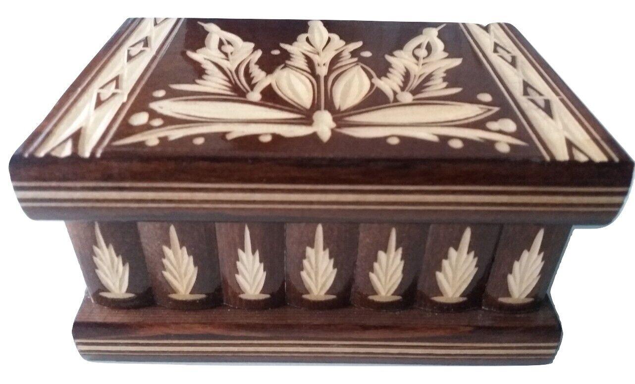 New brown wooden wizard jewelry puzzle magic box brain teaser trinket case
