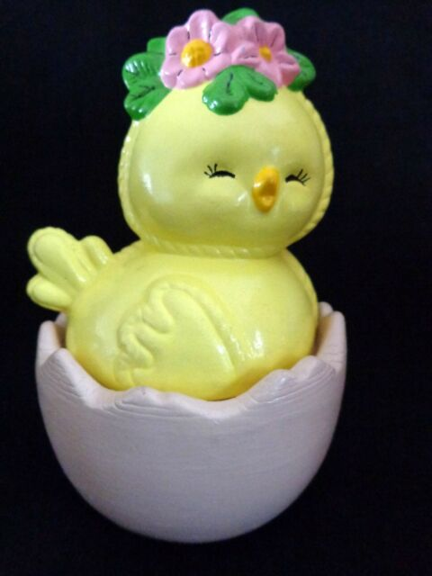 SUGAR BOWL Candy Dish Ceramic CHICK ON EGG Handmade 1977 Vintage