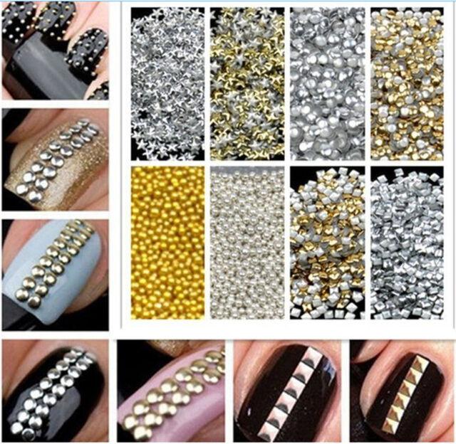 1000pcs Gold & Silver Stud Nail Art 3D Design Decoration Stickers Metallic Studs