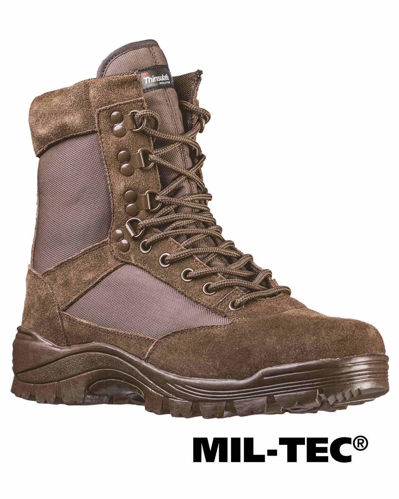 Mil-tec Tactical barco m. ykk Zipper marrón botas zapatos