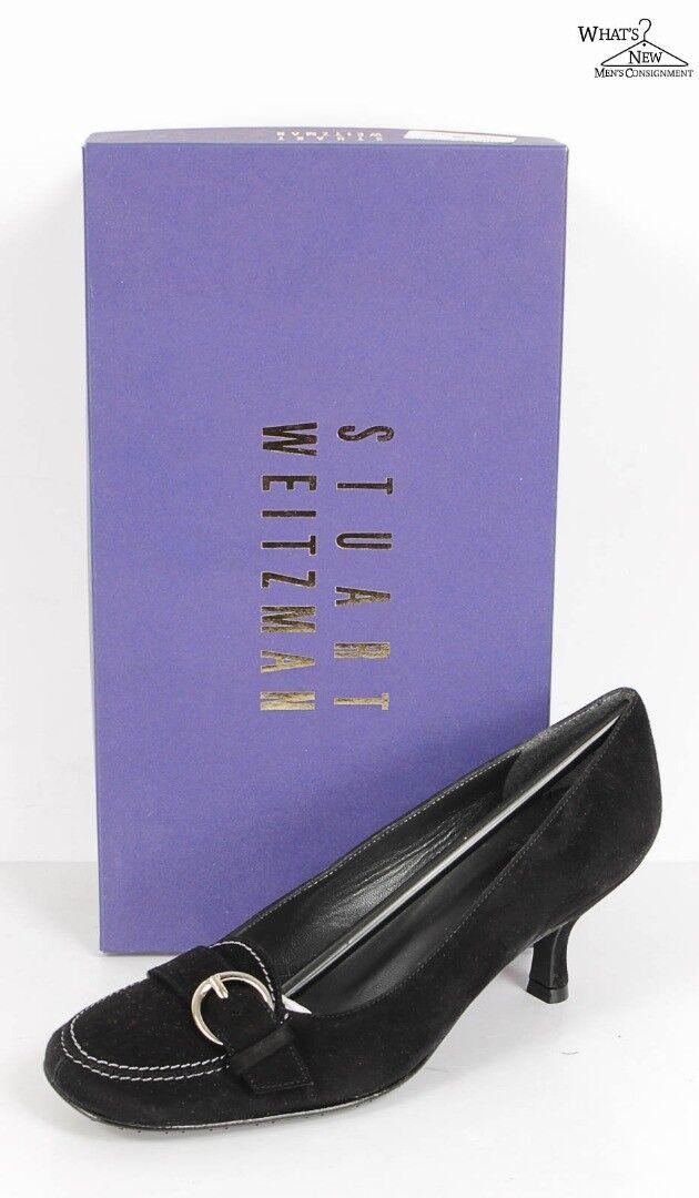 Nuevo en caja zapatos de tacón bajo bajo bajo De Gamuza Negra Stuart Weitzman de vestir Zapatos Talla 6 M  distribución global