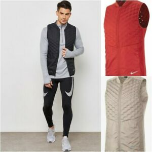 Nike-Aeroloft-Men-039-s-Reflective-Packable-Running-Vest-928501-Red-amp-Beige-NWT-180