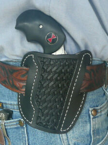 Leather-Holster-NAA-Black-Widow-2-034-North-American-Arms-Ruff-039-s-Basket-Weave-Black