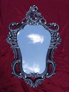Espejo Barroco De Pared Antiguo Reproducción Negro Blanco Dualcolor 50x76 Arte Y Antigüedades