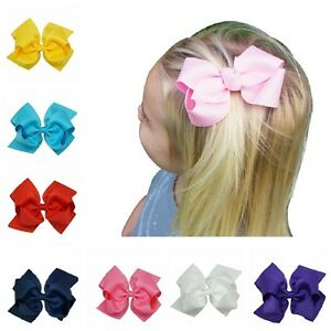 8 INCH BABY BOWS BOUTIQUE HAIR CLIP ALLIGATOR CLIPS GROSGRAIN RIBBON BOW GIRL UK Accessoires