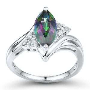 Natural Mystic Topaz & Created White Sapphire Marquise Ring in Sterling Silver