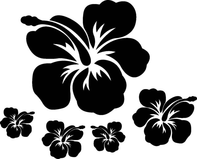 32 Hibiscus Flower Surf Car Wall Vinyl Stickers Black For Sale