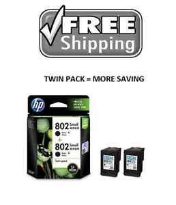 Details about HP 802 Genuine Inkjet Printer Cartridge Black Color Deskjet  TWIN PACK Authentic