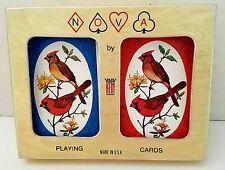 Vintage KEM Nova Cardinal Birds Playing Cards Gold Case 2 Double Deck No Jokers
