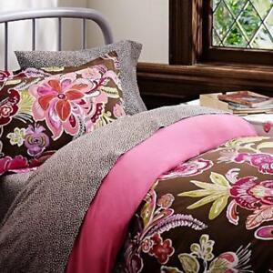 Pottery Barn Teen Boho Floral Flowers Looms Duvet Cover F Q Brown Organic Cotton Ebay