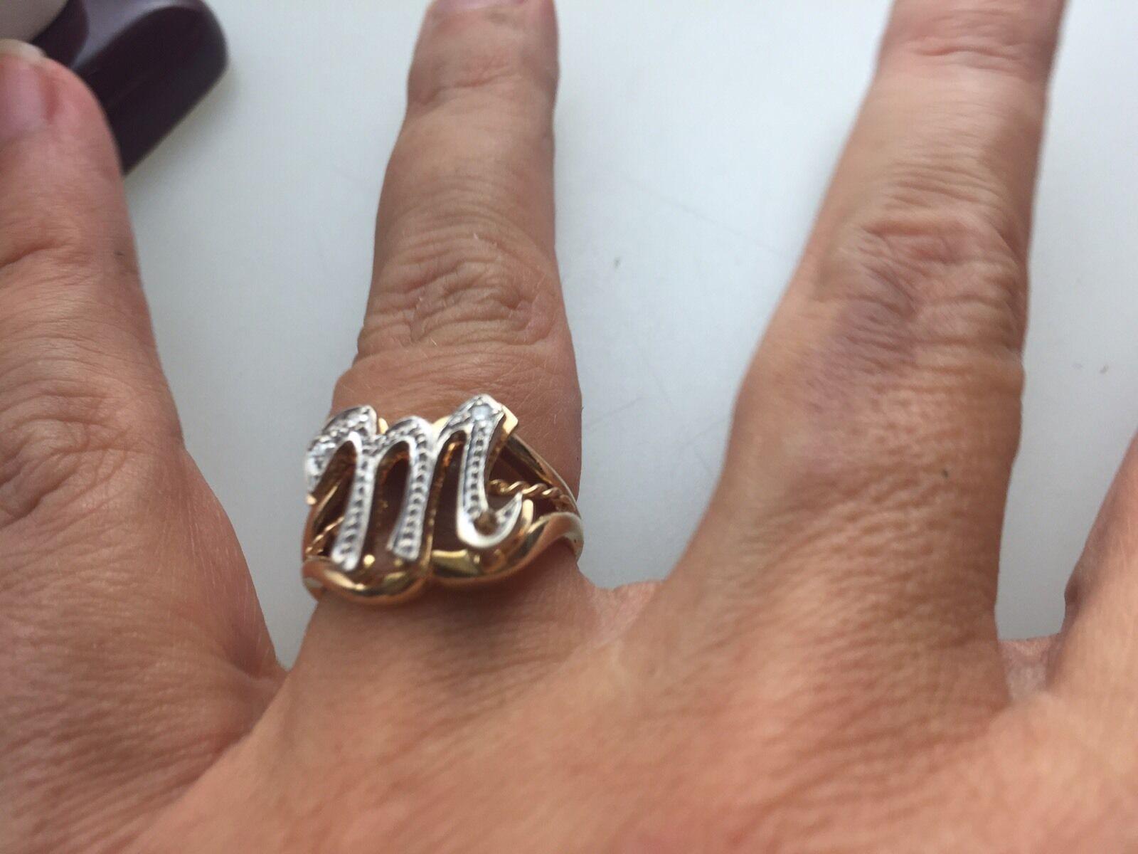 Nuova Negozio Display 14k Massiccio Nero Diamanti Diamanti Diamanti Iniziale M Misura Anello 44d190