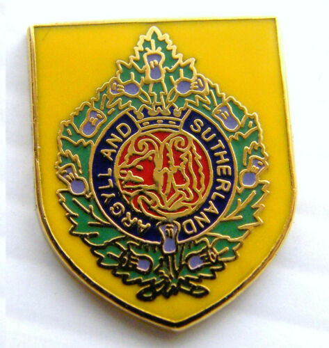 THE ARGYLL AND SUTHERLAND HIGHLANDERS ARMY MILITARY PIN LAPEL BADGE FREE POUCH