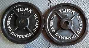 Image Is Loading Vintage York Barbell Olympic Milled 45 Lb