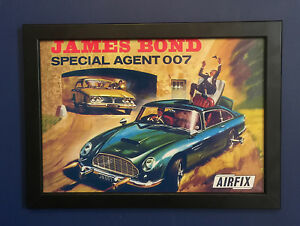 Airfix-James-Bond-007-Aston-Martin-DB5-1966-FOLLETO-Poster-Cartel-enmarcado-tamano-A4