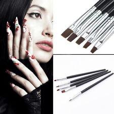 5PCS Good Nail Art Acrylic UV Black Gel Salon Pen Flat Brush Kit Dotting Tool