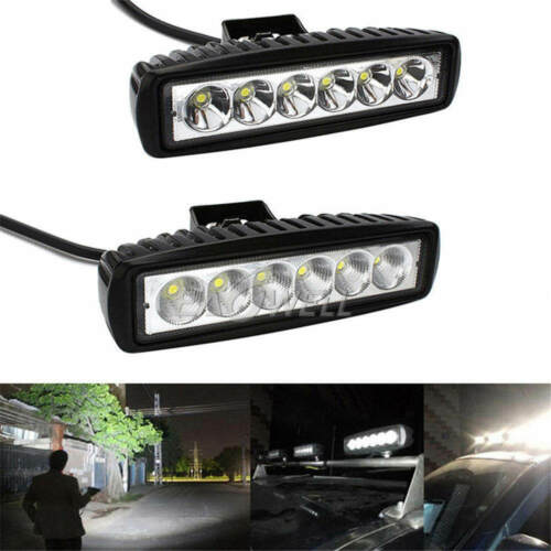 "US 2x 18W 6/"" LED Work Light Bar Flood Lamp Offroad Driving Fog 4WD UTE SUV Truck"