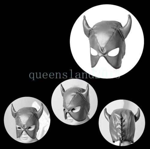 Restriant Slave Leather Head Mask Harness Horn Open Eye Mouth Hood Headgear new