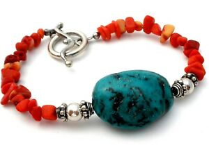 "Vintage Coral & Turquoise Sterling Silver Nugget Bead Bracelet 7.5"" Blue & Red"