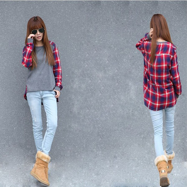 HOT Women Long Sleeve Crew Neck Plaid Checks Print Casual Loose Top T-Shirt AUGT
