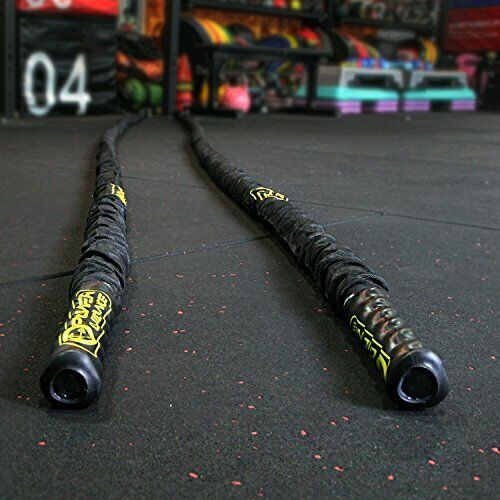 """Heavy Battle Rope for Cardio Workout w// Nylon Sleeve /& Wall Anchor 1.5/"""" x 30/'"""