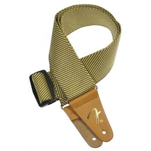Genuine-Fender-2-034-Vintage-Yellow-Tweed-Adjustable-Guitar-Strap-with-034-F-034-Logo