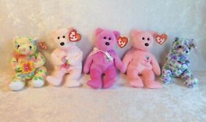 TY BEANIE BABIES SPRING MOTHERS DAY BEARS BLOOM MOTHER CORSAGE DEAR MUM SET MWMT