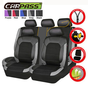 Universal-Black-Grey-Leather-Mesh-Car-Seat-Covers-Rear-Split-Airbag-For-SUV-VAN