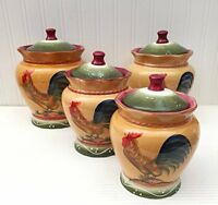 Tuscan Sunshine County Rooster Hand Painted Canisters, Set Of 4, 89301 By Ack, N