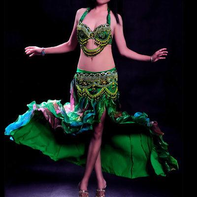 Aspirante A002 Professionale Danza Del Ventre Costume 3 Pezzi Reggiseno Cintura Rock Menes-