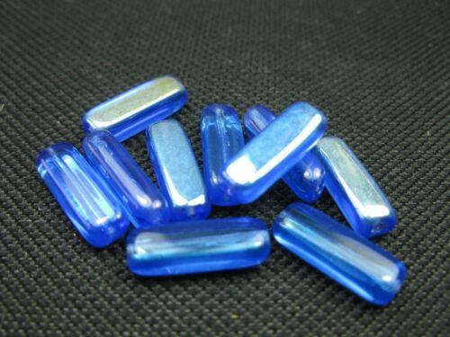 10 böhmischer Glasperlen blau AB 14x5mm 9645