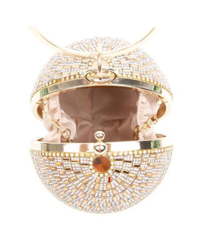 Ladies Diamante Evening Clutch Bag Women Prom Wedding Party Crystal Tassel Round