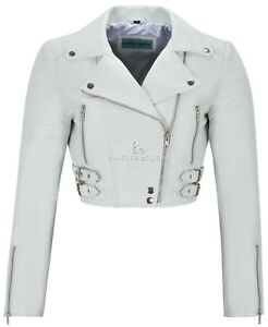 54b3f723b03 Ladies Short Body Jacket Biker White Slim Fit Moto Style 100% Real ...
