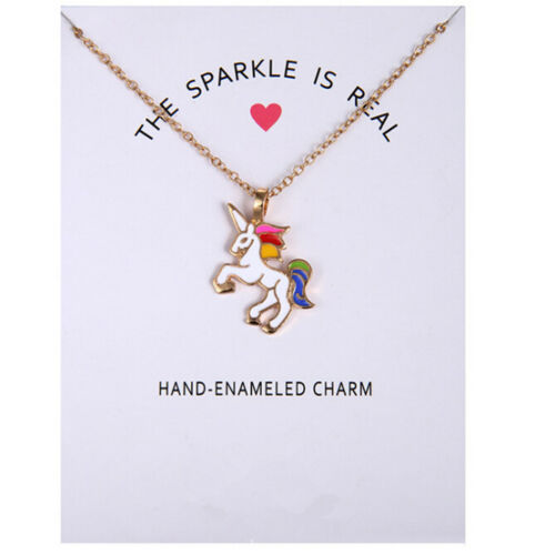 Rainbow Unicorn Horse Necklace Pendant Set Color Glazed Jewelry Chain 6A