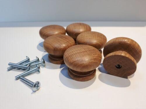 10  Wooden Knobs Handle Kitchen Door Drawer  Solid Oak Wood 40 mm Diameter Round