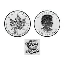 2012 Reverse Proof Canada 1oz  Silver Maple Leaf Coin  Lunar Dragon Privy