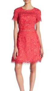 28e1a1860ccb New Elie Tahari Womens Adina Red Floral Embroidered Cocktail Dress 2 ...