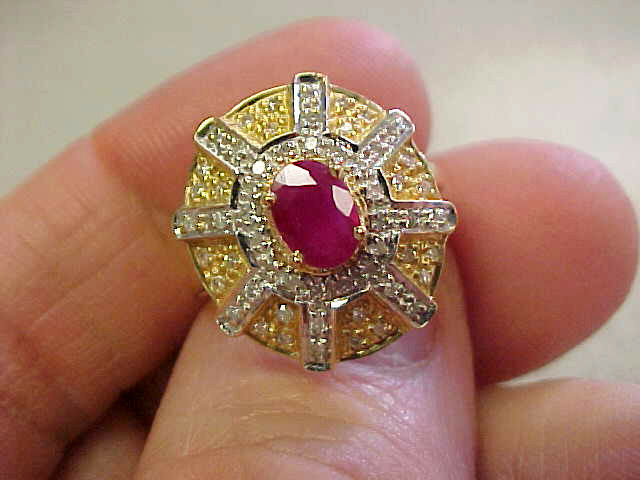 Quality Ruby & Diamond Ring 14k gold size 7    Very pretty    Make Offer