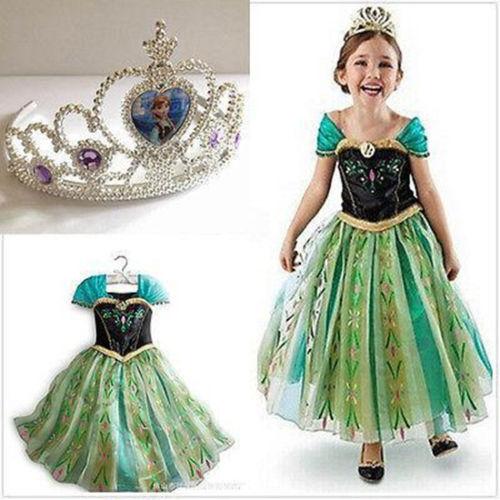 Kids Girls Princess Queen Green Anna Halloween Cosplay Costume Fancy Dress&Crown