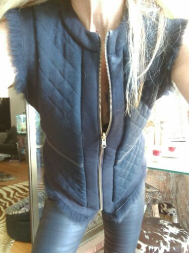 38 Rrp Fur Jacket Vest 950 Shearling Wool Sz