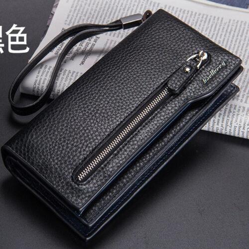 Per gli uomini con doppia cerniera grande capacità di Business Casual Clutch Bag Purse Wallet UK