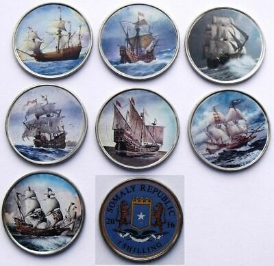 Somaliland 2018 10 shillings 8 colored coins set Sailing Ships