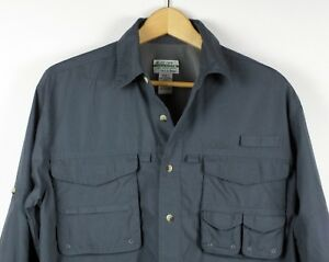 L-L-Bean-Buzz-Off-Shirt-Insect-Repellent-Mens-Blue-vented-fishing-hiking-Small
