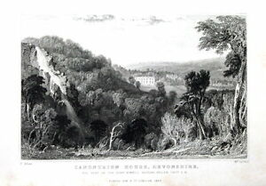DEVON-CANONTEIGN-HOUSE-amp-FALLS-DARTMOOR-Allom-Antique-Print-1832