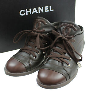 CHANEL-CC-Lace-Up-Sneakers-38-Brown-Khaki-Leather-Vintage-Italy-Auth-Z804-M