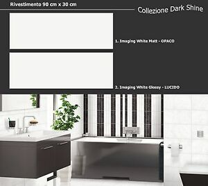 Piastrelle mattonelle rivestimento bagno cucina bianco 90x30 lucido opaco grande ebay - Rivestimento cucina bianco ...