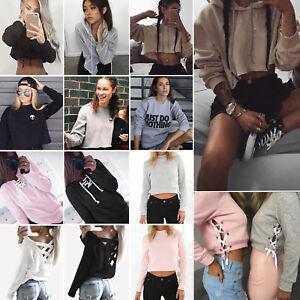 Womens-Casual-Pullover-Hooded-Sweatshirt-Jumper-Hoodie-Crop-Tops-Shirts-Sweater
