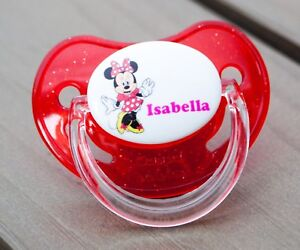 ALL TEATS,SIZES /& COLOURS PERSONALISED DUMMY PACIFIER SOOTHER MOUSE