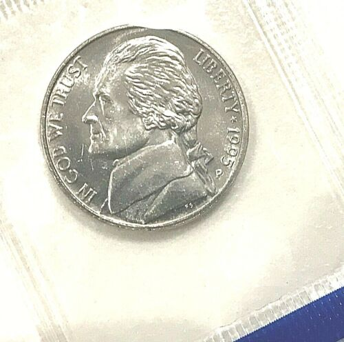 1995 P D S Jefferson Nickel In Mint Cello 3 COINS PROOF