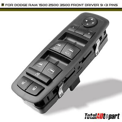 Driver Side Master Power Window Switch Fits 2009-2012 Dodge RAM 1500 Double Auto Buttons 3500 Quad /& Crew Cab Pickup Without Power-Fold Mirrors, Replaces 4602863AD, 4602863AB, 4602863AC 2500